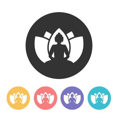 asian and indian ethnicities: Buddha with lotus flower. vector illustration Illustration