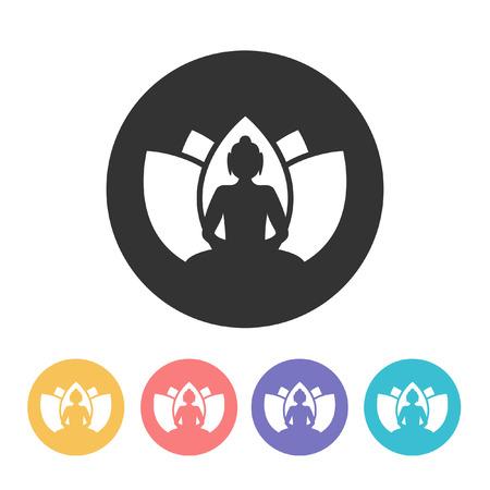 Buddha with lotus flower. vector illustration Illustration