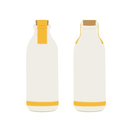 milkman: bottle of milk icons. vector illustration
