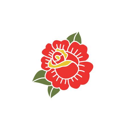doodle icon. rose flower. traditional tattoo flash. vector illustration Illustration