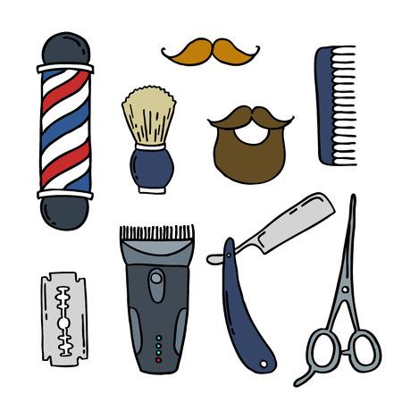 barbershop doodle icons