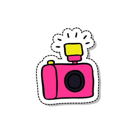 Camera doodle icon. Illustration