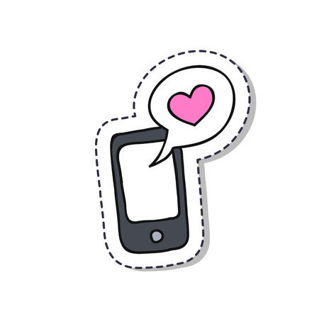 cellphone with love message doodle sticker icon