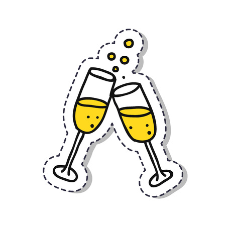 glasses of champagne doodle sticker icon Ilustrace