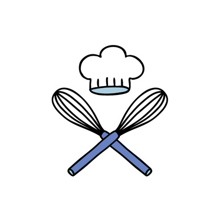 corolla and chef hat doodle icon Illustration