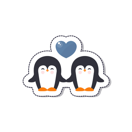 pinguins in love vector icon