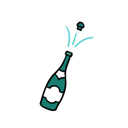 champagne doodle color icon