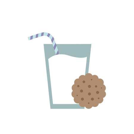 glass of milk and cookie icon Ilustrace