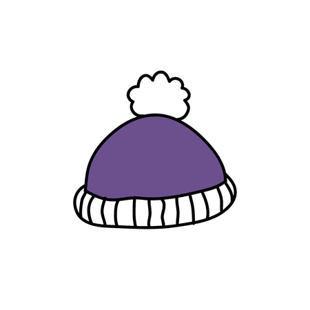 knitted hat doodle icon