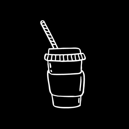 take away coffee cup doodle icon