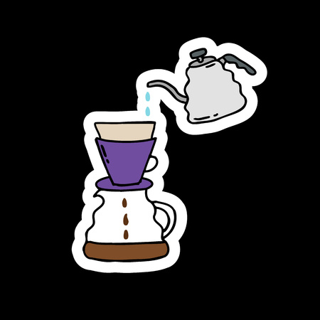 alternative coffee maker, device for brewing coffee doodle icon Stock Vector - 124814333