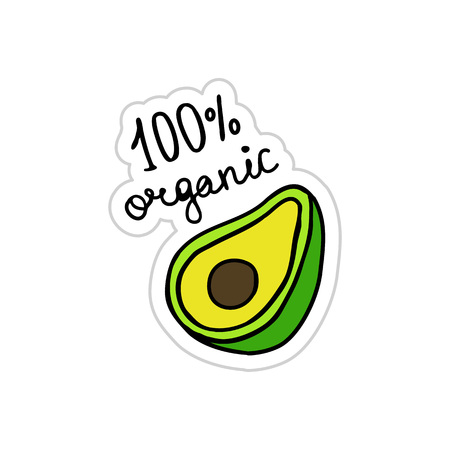 avocado doodle sticker icon