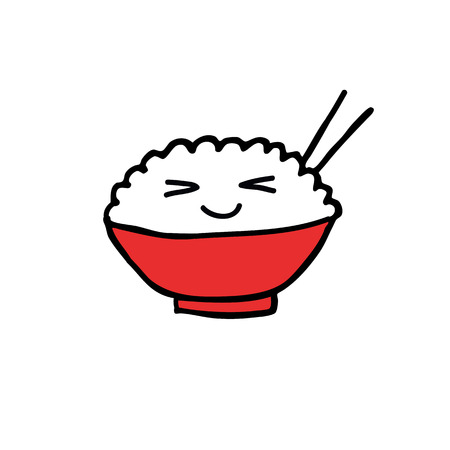 emoji rice with chopsticks doodle icon