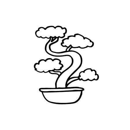 bonsai tree doodle icon