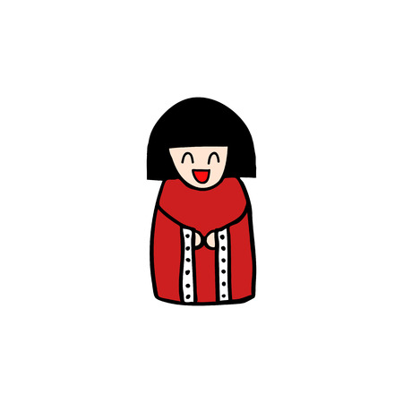 kokeshi doll doodle icon