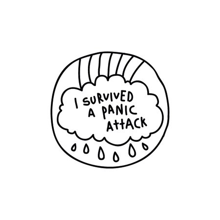 i survived a panic attack doodle sticker 일러스트