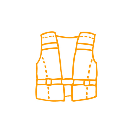 safety life jacket doodle icon