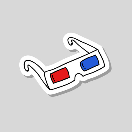 3D glasses doodle icon