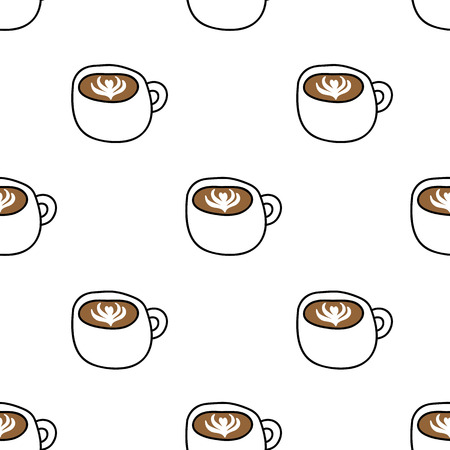 cappuccino seamless doodle pattern