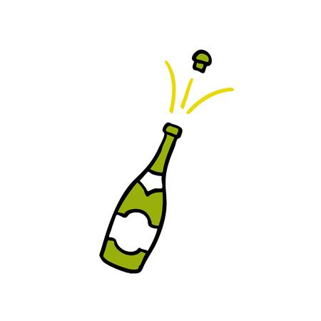 champagne bottle doodle icon