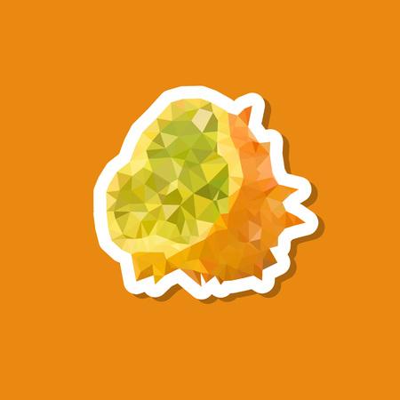 kiwano polygonal sticker icon Stock Illustratie