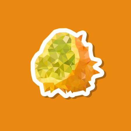 kiwano polygonal sticker icon Illustration