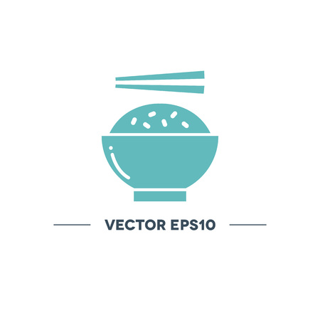 rice with chopsticks vector icon