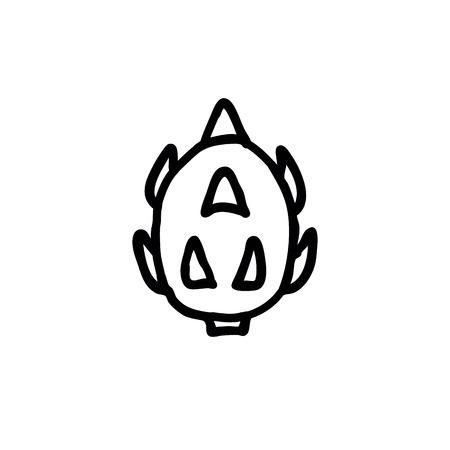 pitahaya, dragon fruit doodle icon