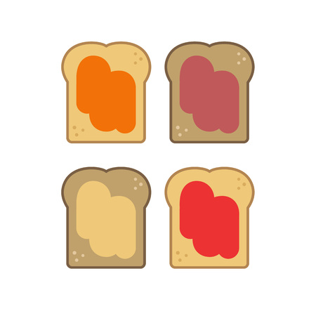 toast with jam vector icon 向量圖像