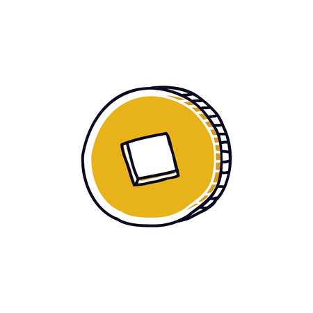 chinese coin doodle icon