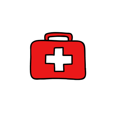 first aid kit doodle icon 向量圖像