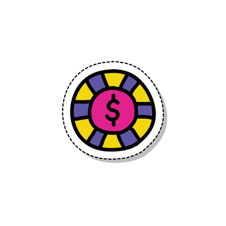 casino chip sticker doodle icon Illustration
