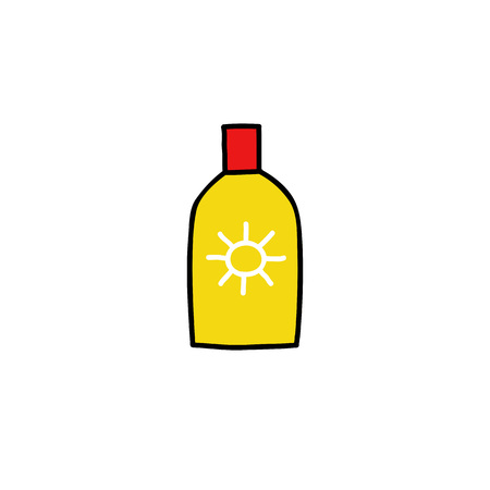 sunscreen doodle color icon Ilustracja