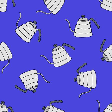 kettle for coffee seamless doodle pattern Çizim