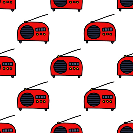 radio seamless doodle pattern Ilustrace