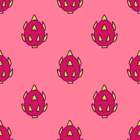 pitaya seamless doodle pattern Stock Illustratie