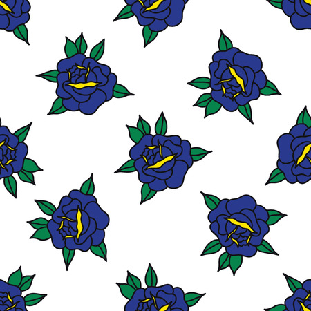 rose traditional tattoo flash seamless doodle pattern