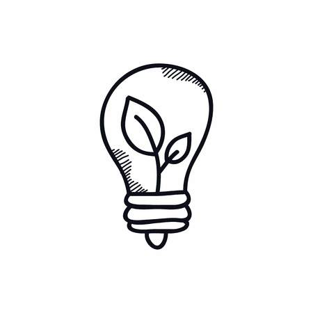 lightbulb doodle color illustration vector icon