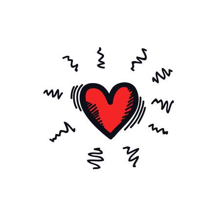 heart illustration doodle vector icon