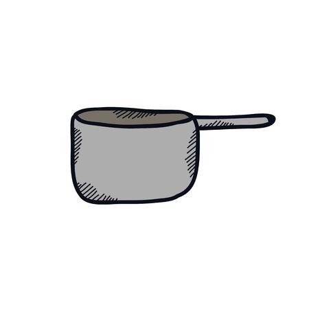 kitchen pan doodle illustration vector icon