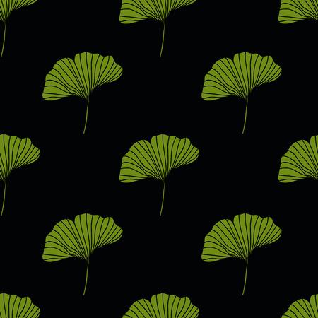 ginkgo leaf seamless doodle pattern 版權商用圖片 - 123333784