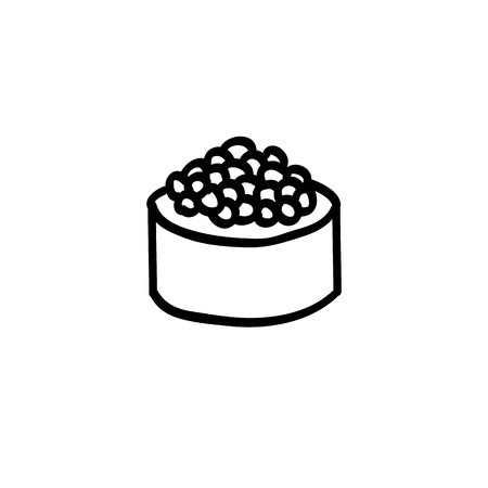 roll with caviar doodle icon