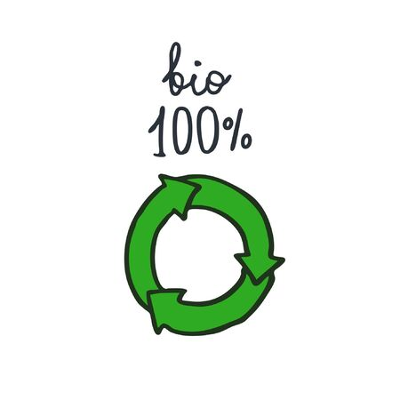 ecology recycle doodle icon, vector illustration