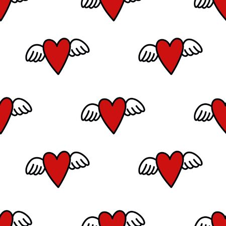 heart with wings seamless doodle pattern illustration