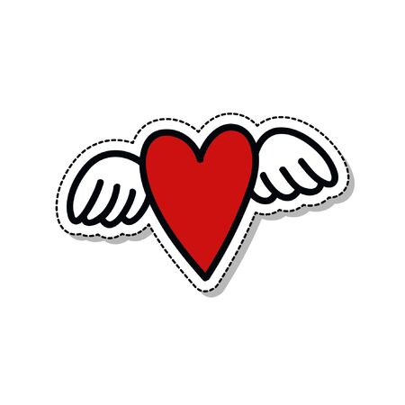 heart with wings doodle icon, vector illustration