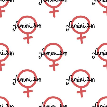 feminism logo seamless doodle pattern, vector illustration