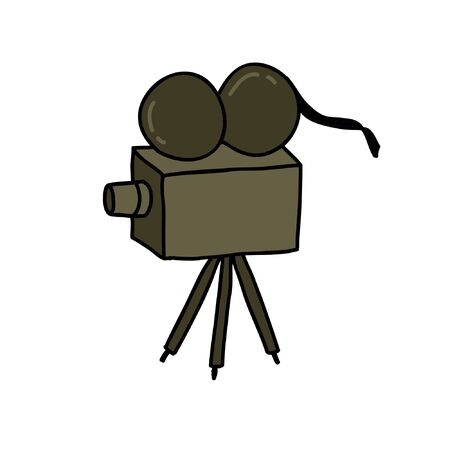 videocamera doodle icon, vector illustration
