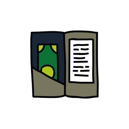 check, bill doodle icon, vector illustration