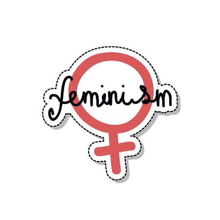 feminism   doodle icon, vector illustration