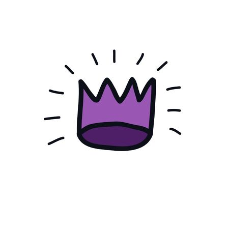 crown doodle icon, vector illustration